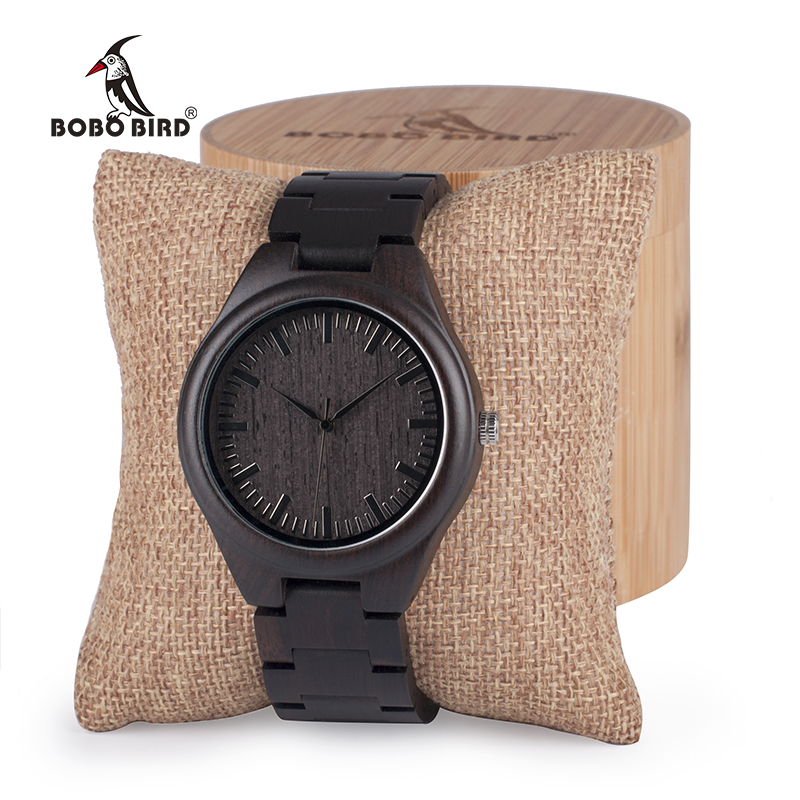 BOBO BIRD Mens Black Ebony Wooden Watches Wood WristWatch Links Causal Quartz relogio masculino in Gift Box custom logo bobo bird i26 mens unique ebony wooden watches deer head dial casual quartz wrist watches with wood links in gift watch box
