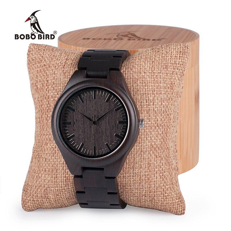 BOBO OISEAU Hommes Noir Ébène En Bois Montres Bois Montre-Bracelet Liens de Causalité Quartz relogio masculino dans une Boîte Cadeau personnalisé logo