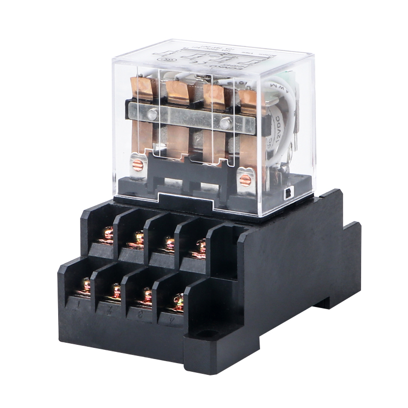 HH64P LY4NJ Electromagnetic <font><b>Relays</b></font> Socket Base AC <font><b>220V</b></font> 110V DC <font><b>24V</b></font> 12V 10A Power <font><b>Relay</b></font> Switch 14 Pin 4PDT Coil Silver Contacts image