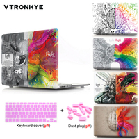 For Macbook Pro 13 15 with Touch Bar Case Laptop PC Case Left Right Brain Skin Plastic Cover For Macbook Air Pro Retina 13 15''