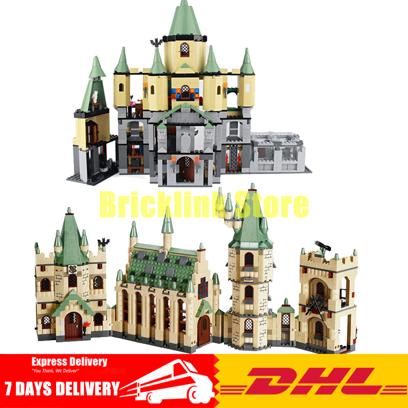 DHL Lepin Movies Series 16029+16030 The Creative Hogwarts Castle Building Blocks Bricks Model Toys Clone 4842 5378 lepin 16030 1340pcs movie series hogwarts city model building blocks bricks toys for children pirate caribbean gift