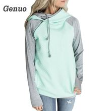 Genuo Hoodies Sweatshirt 2018 Women Casual Autumn Double Hooded Patchwork Long Sleeve Pullover Cotton Blend