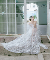 2017 High end elegant fine workmanship tulle mesh embroidered bright white wedding lace fabric with cording bridal gown lace new