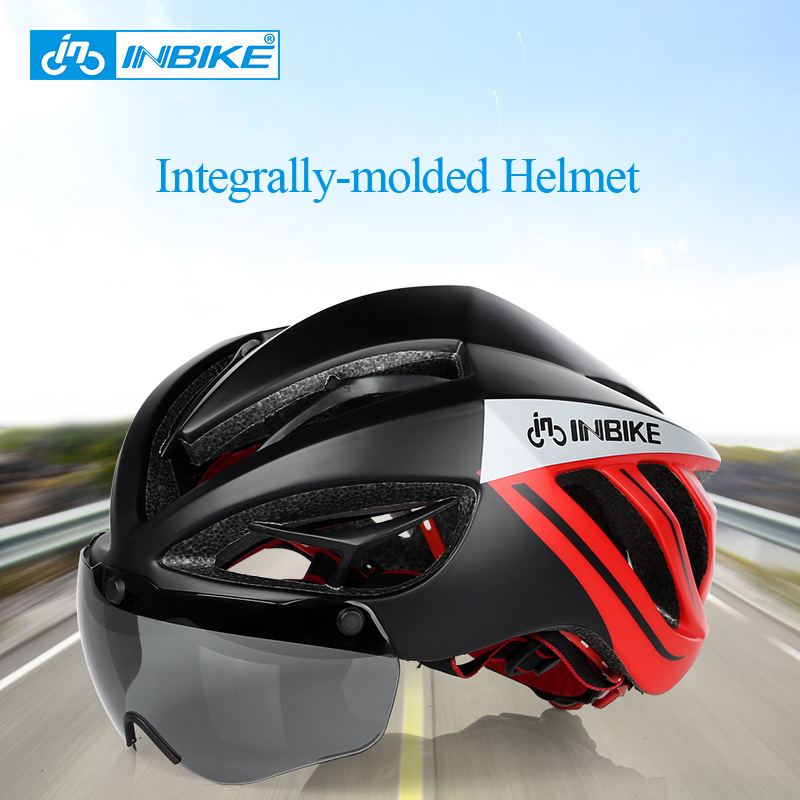 INBIKE Integrally-molded 3D Bicycle Helmet with Magnetic Lenses for Men 19 Vents Mountain Road MTB Casco Ciclismo Bicycle Helmet rockbros bicycle helmet ce certification cycling helmet integrally molded bike helmet casco ciclismo 56 62 cm
