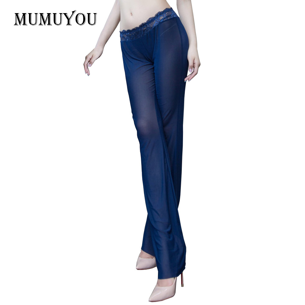 Women Mesh Sheer Legging Transparent Lace Bell bottom Flared Pants Sexy Club Show Nightwear See ...