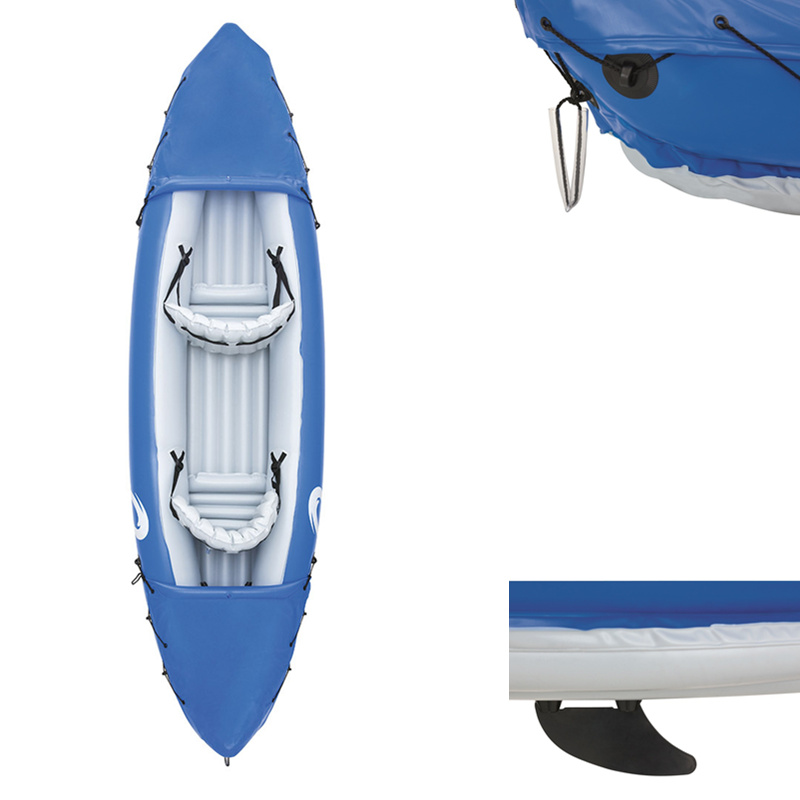 Image 2 - JayCreer 2 Person Inflatable Kayak With Paddle,Load 160KGS ,Material 0.57mm PVC ,Size:321X88CM Blue,351X76CM OrangeRowing Boats   -