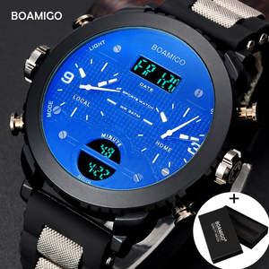 Мужские кварцевые наручные часы BOAMIGO, синего цвета, военные, спортивные, с 3 часовыми поясами и с цифровым светодиодным дисплеем, в подарочно...