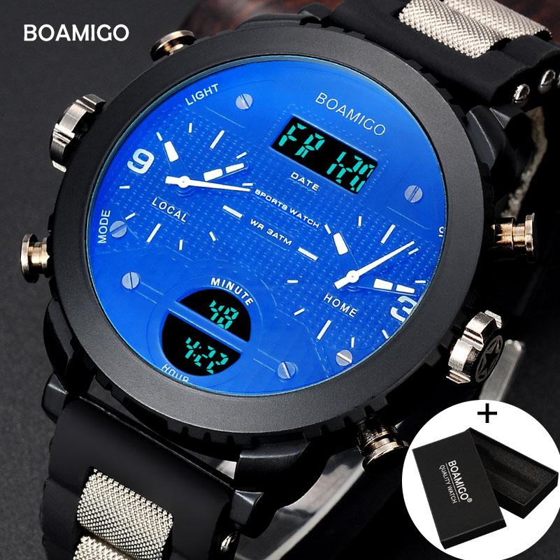 f5872c6c794 Homens relógios marca BOAMIGO 3 fuso horário militar relógios desportivos  masculino caixa de presente digital LED