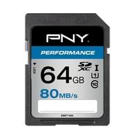 PNY SDXC 64GB Performance 64 GB SDXC Class 10 UHS I 80 MB / s Black