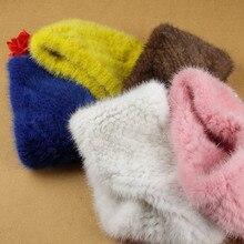 MS.MinShu Diadema tejida de piel de visón para mujer, calentador de cuello, ropa para la cabeza, calentador de orejas, anillo de cuello, estilo elástico