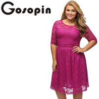 Gosopin New Arrival Sexy Plus Blue Three Quarters Sleeves Lace Wedding Plus Dress Casual Party Dress