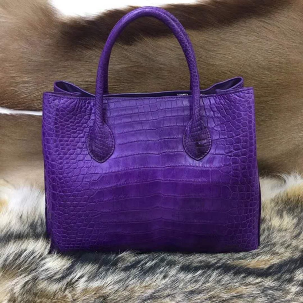 100% genuine real crocodile leather belly skin women tote handbag purple color matt luxury quality crocodile skin handbag цена