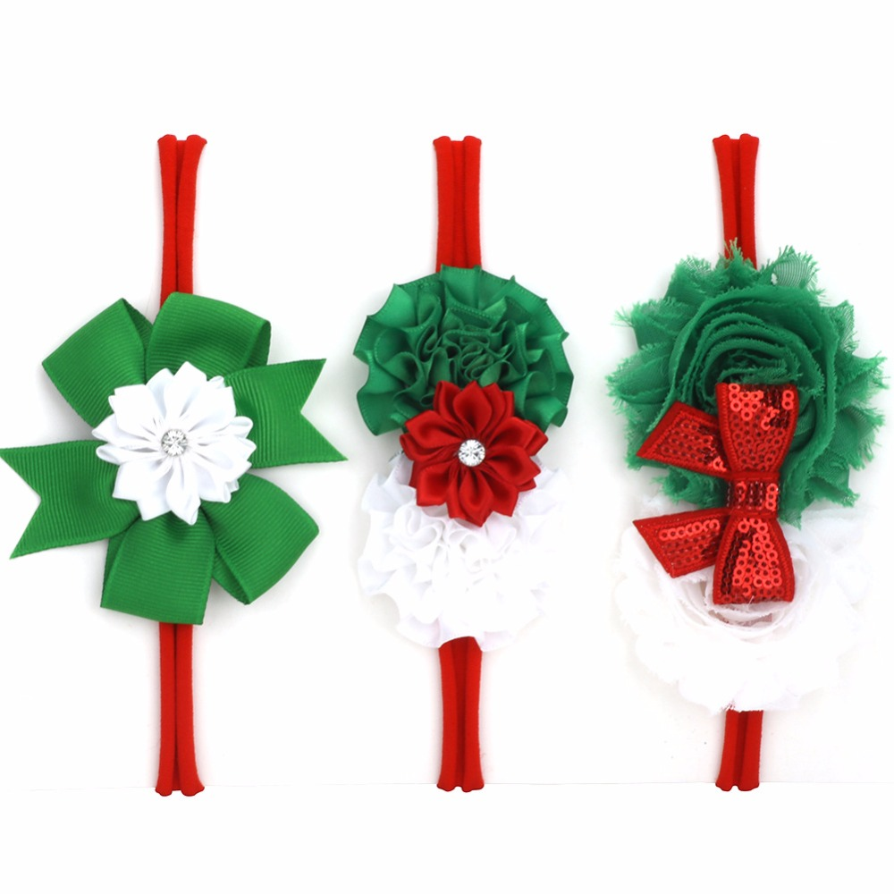 on sale 3pcs Girl Nylon Christmas headband Satin Shabby Flower Sequin Bow Hairband Green Red White Hair Accessories kids gifts