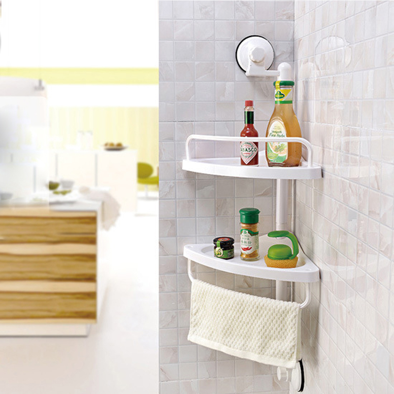 Wall Mounted Kitchen Spice Organizer Shelf Rack Suction Cup Rack Cup Spice Storage Rack Shelving Wall Bathroom Shelves
