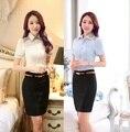 Plus Size 4XL 2015 verão mulheres de negócio ternos magro moda blusa e Mini saia Ladies escritório Tops camisas roupas definir