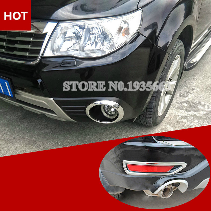 For Subaru Forester Chrome Front & Rear Fog Light Trim Cover 2009-2012 forester headlight 2013 2016 fit for lhd rhd need add 200usd free ship forester fog light 2ps se 2pcs aozoom ballast forester