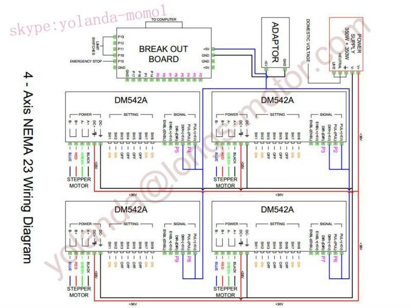 stepper motor 4axis nema 23 425oz in 23hs9430b 3a dual shaft dm542a rh aliexpress com Motor Control Wiring Diagrams longs stepper motor wiring diagram