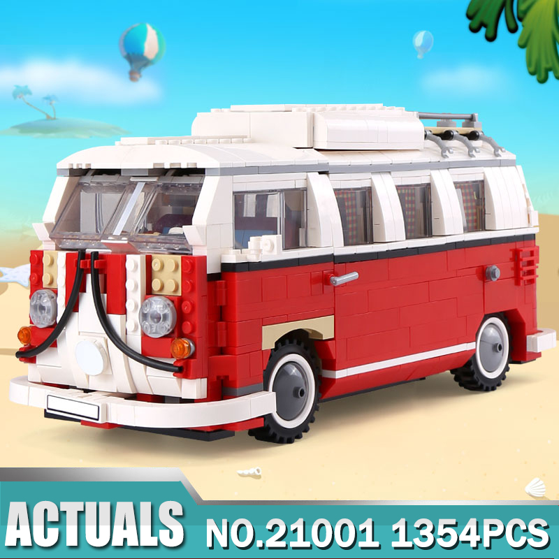Lepin Technic 21001 1354pcs the Volkswagen T1 Camper Van car-styling lepin building bricks kits Toy Compatible Legoing 10220 new lepin 21001 creator series the volkswagen t1 camper van model building blocks classic compatible l10220 technic car toys