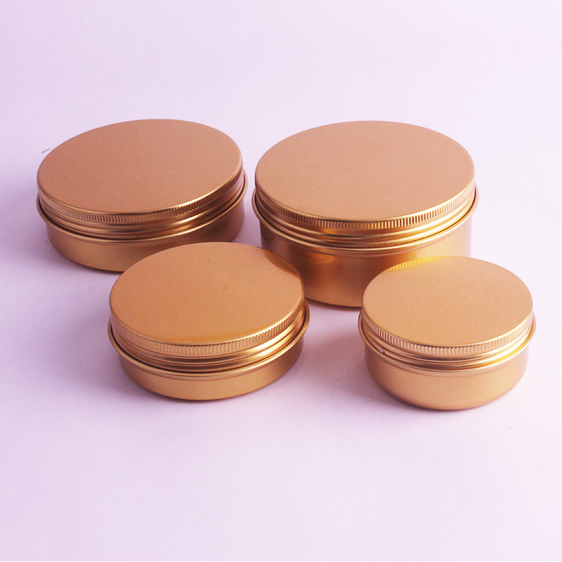 Image 4 - 20pcs/lot 50ml,60ml,100ml,150ml Gold Aluminum Cream Jars Tins Metal Cosmetic Jar Cosmetic Packaging Containers Lipstick Pot-in Refillable Bottles from Beauty & Health