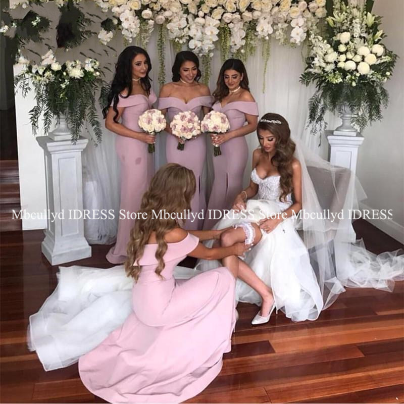 Sexy Off Shoulder Mermaid   Bridesmaid     Dresses   2019 High Split Pink Maid Of Honor   Dress   Prom For Women Cheap Wedding Guest   Dress