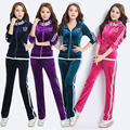 Track suit 2017 velvet Tracksuit female big yards Slim hooded casual clothes suit 2 piece set women suit