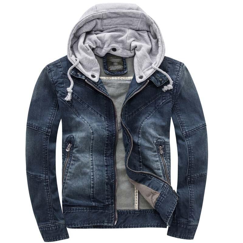 Осенняя джинсовая куртка с капюшоном, Мужская модная джинсовая куртка, Повседневная тонкая Ретро винтажная Хлопковая мужская брендовая одежда