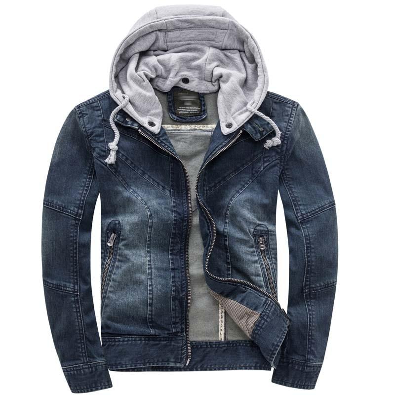 Outono Com Capuz Jaqueta Jeans Dos Homens Denim Moda Jaqueta de Algodão Ocasional Magro Retro Do Vintage Homem Roupas de Marca