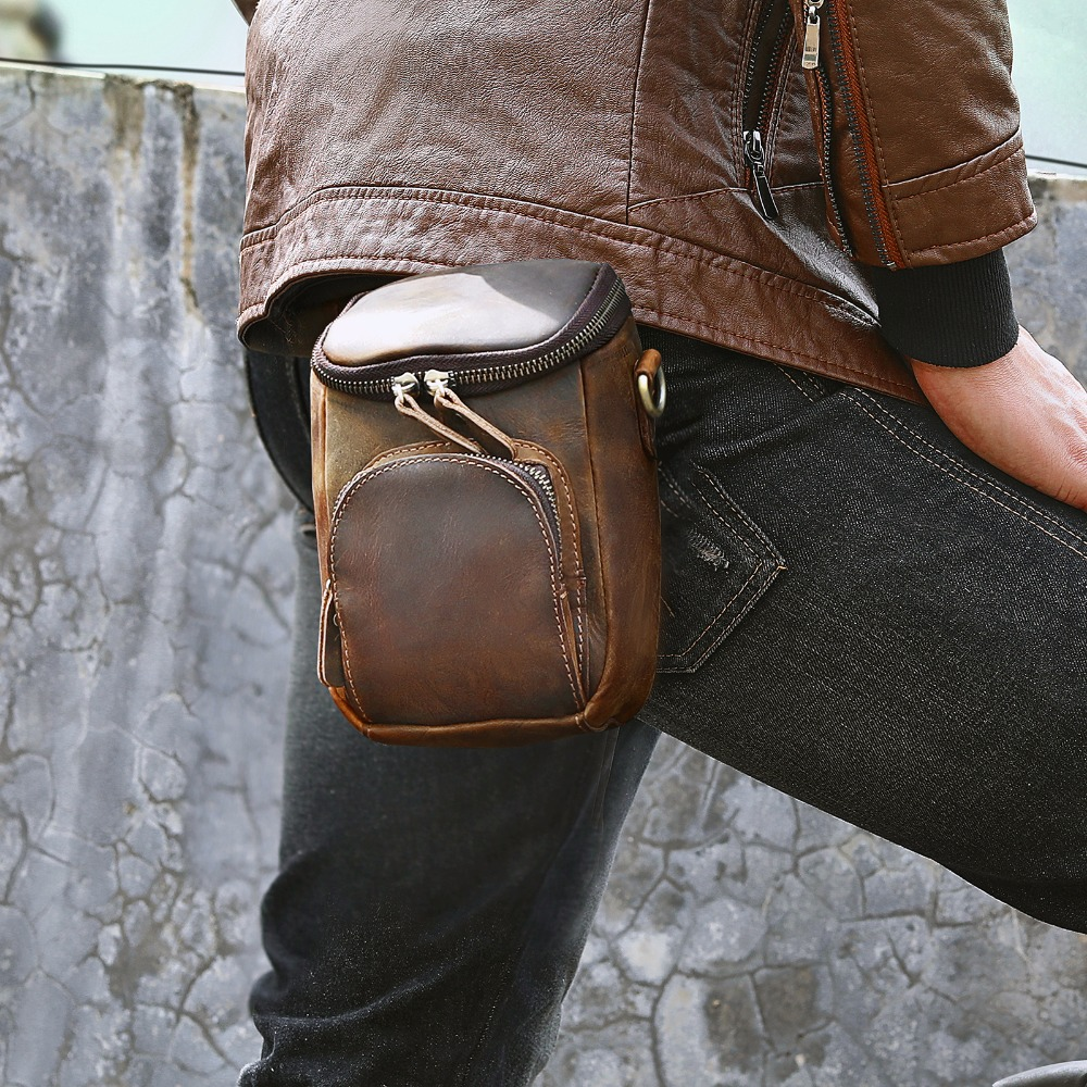 Quality Leather Men Design Casual Multifunction Small Messenger Crossbody Bag Fashion Hook Waist Belt Bag Phone Pouch Male 1167