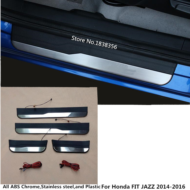 Exterior Parts Auto Replacement Parts Popular Brand Led Auto Door Sill Protector For Honda Fit Shuttle Accessories 2014-2018 2019 Illuminated Door Sills Scuff Plate Thresholds 100% Original