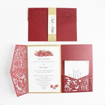 Luxury pocketfold wedding invitations high quality burgundy blue pink hollow party invitation set free shipping free printing