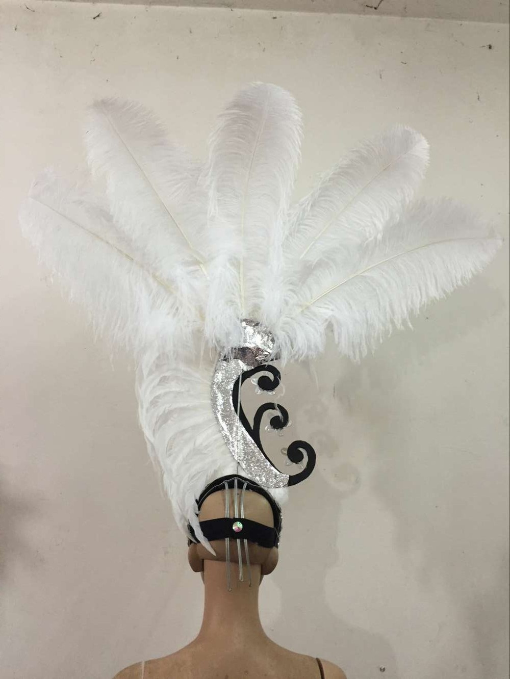 Image 5 - Feather clothing Stage performance catwalk carnival Headdress flower pubs party Men's wear women's clothing-in Women's Hair Accessories from Apparel Accessories