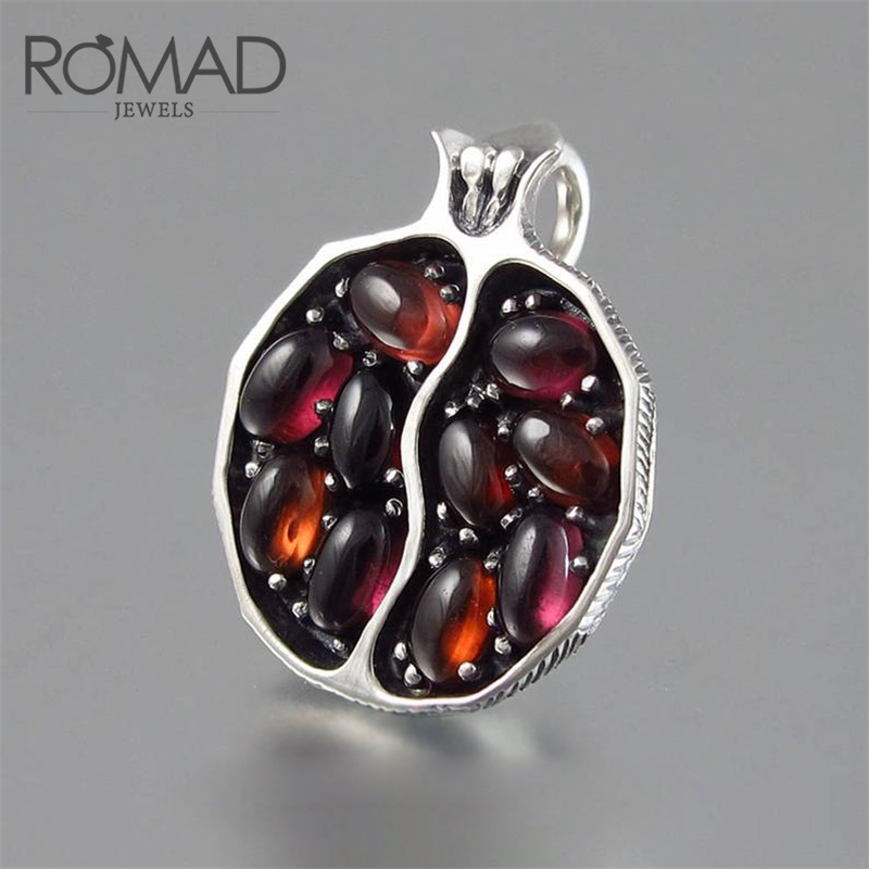 ROMAD Pomegranate Shape Pendant Necklace Women Red Stone Chain Jewelry Bijoux Femme Sweater Accessories Collier Femme 2019 R50