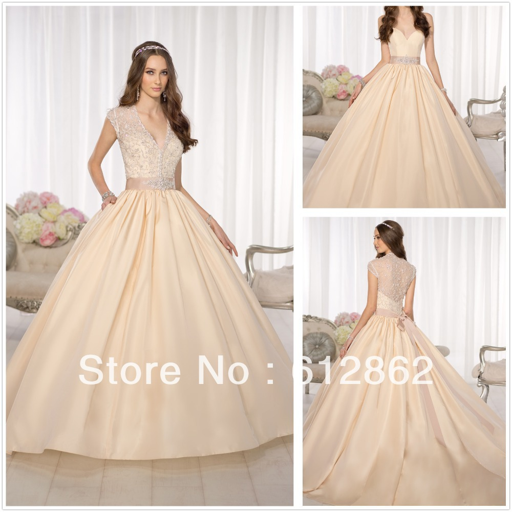 Champagne Ball Gown Wedding Dresses: Ball Gown Long Train Champagne Colored Wedding Dresses