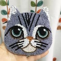 Ensso 2018 Cat Coin Purse Beads Card Holder Women Cartoon Purse Lovely Handmade Mini Bag Animal Embroider Bag Crossbody Bag Cute
