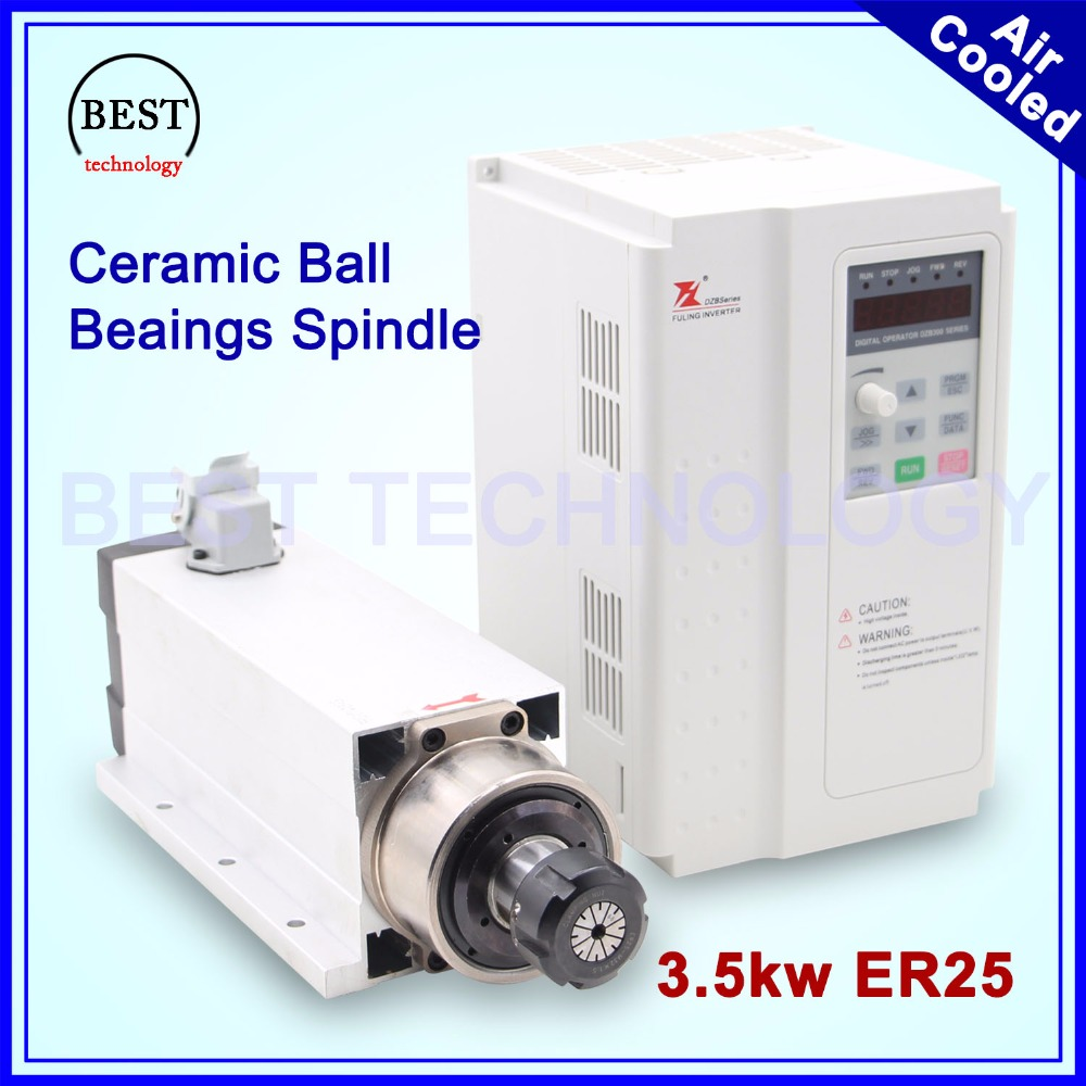New Arrival! 3.5kw ER25 air cooled spindle motor 220v 380v ceramic ball bearings 0.01mm accuracy & 3.7kw Fuling Inverter VFD high quality ceramic bearings 3 5kw 380v air cooled spindle motor er20 and 4kw vfd inverter
