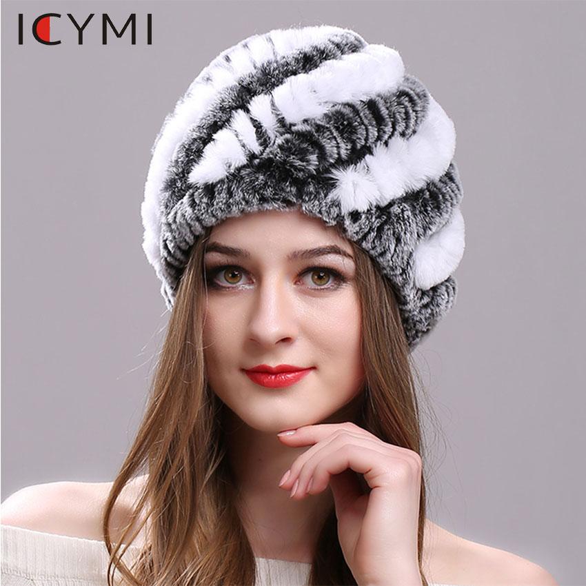 ICYMI Natural Rex Rabbit Fur Hat Elastic Knitted Cap With Stripe Design Handmade Real Fur Hat Ladies Headgear  Fashion Women Hat