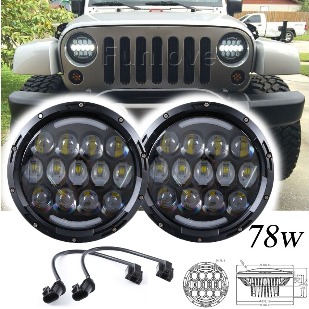 2pcs 7inch 78w Round LED Projector Headlights with DRL Hi/lo Beam for Jeep Wrangler 1997-2015 Jk Tj Harley Motorcycle Offroad