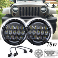 2pcs 7inch 78w Round LED Projector Headlights with DRL Hi/lo Beam for Jeep Wrangler 1997 2015 Jk Tj Harley Motorcycle Offroad