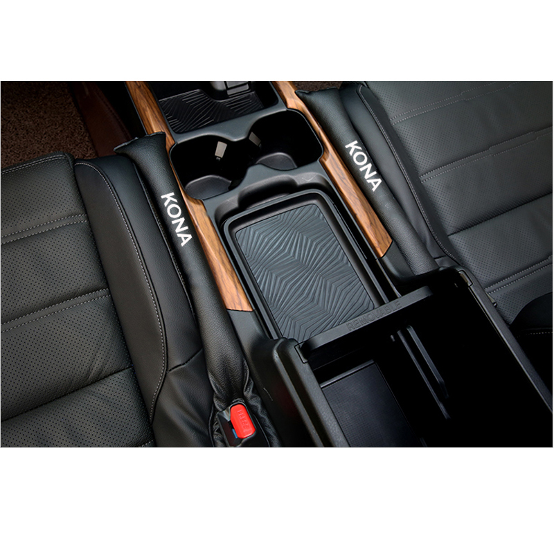 2Pcs Pu Leather Fillers Spacer Filler Slot Plug Car Seat Gap Pad For Hyundai Kona