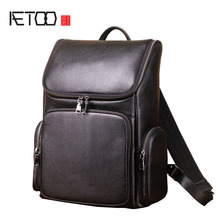AETOO Leather men's backpack lychee first layer leather computer bag European and American style bag цены онлайн