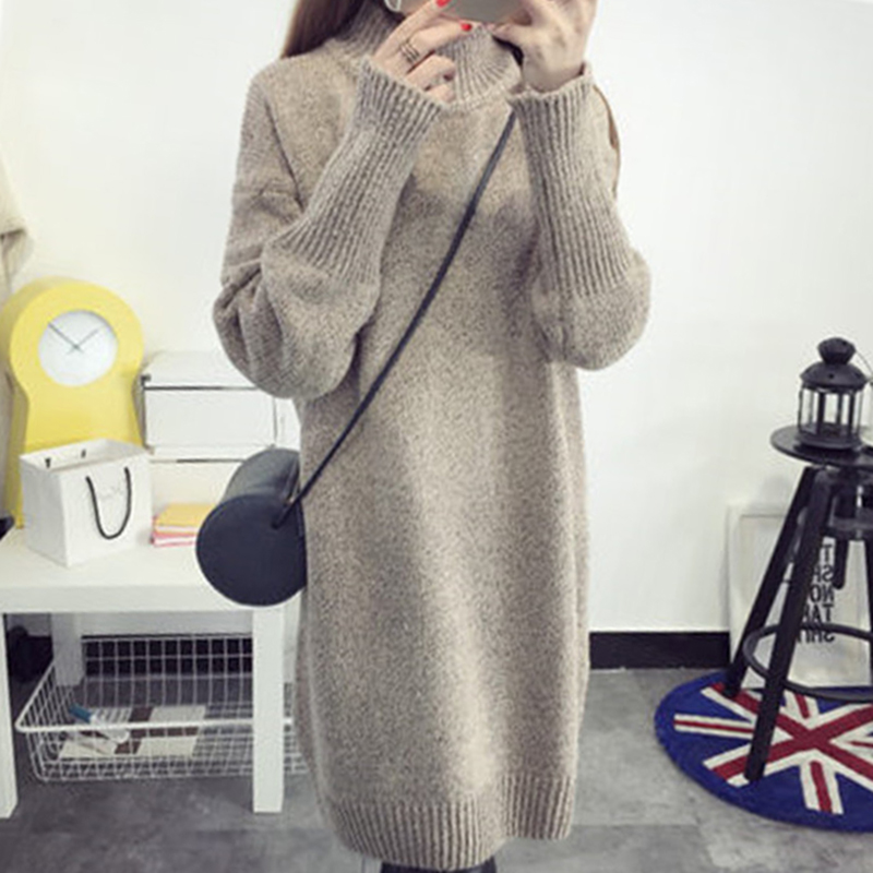 Beautiful Autumn Fashion Women's Long Sweaters Turtleneck Neck Batwing Sleeve Loose Knitted Sweater Ladies Pullovers Sweaters Special Buy