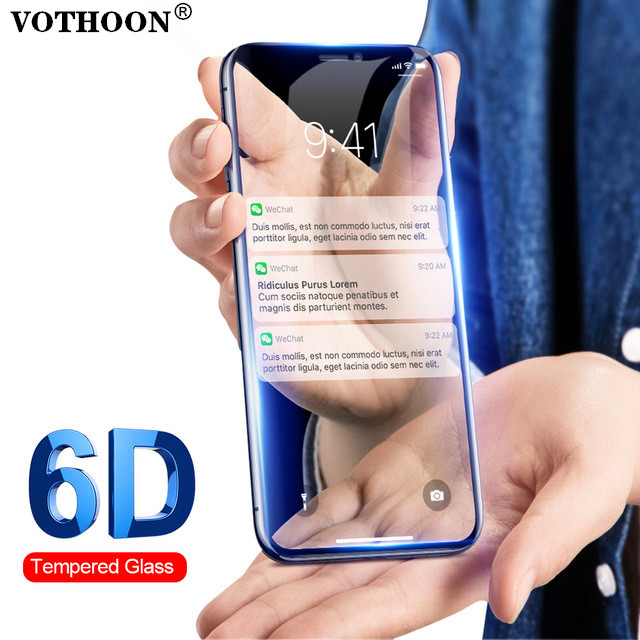 VOTHOON 6D Glass Screen Protector For iPhone X,0.2mm 6D Full Cover Tempered Glass Screen For iPhone 8 7 6s Plus Glass Protector