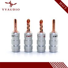 8pcs CMC Red Copper 0638-WF Male Banana Plug Speaker Cable Connectors No soldering free shipping