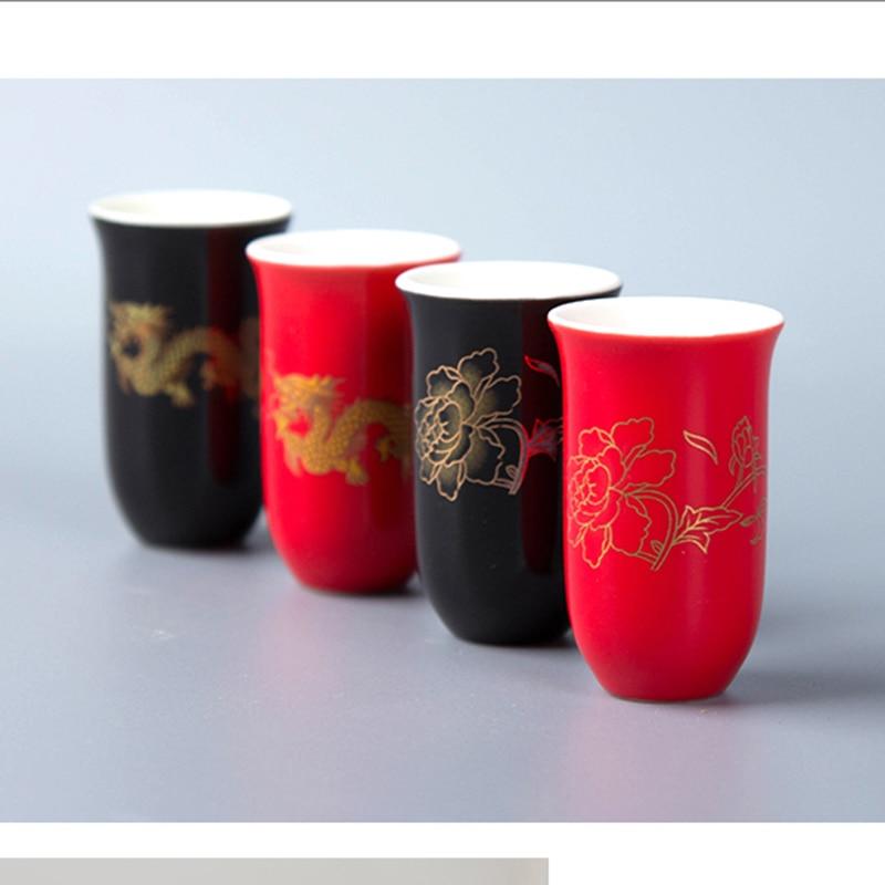 Čajové kelímky 27 ml Malovaný keramický malý pohár Kung Fu čajovník Černý červený svatební hostina Použijte velkoobchodní čínské keramické řemesla D058