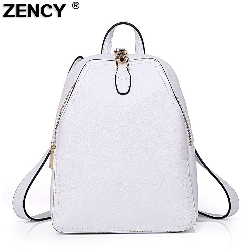 ZENCY 100% Genuine Cow Leather Women Lady Backpack Fashion Female Designer Real Cowhide Navy Red Backpacks Pure White Gray Bag