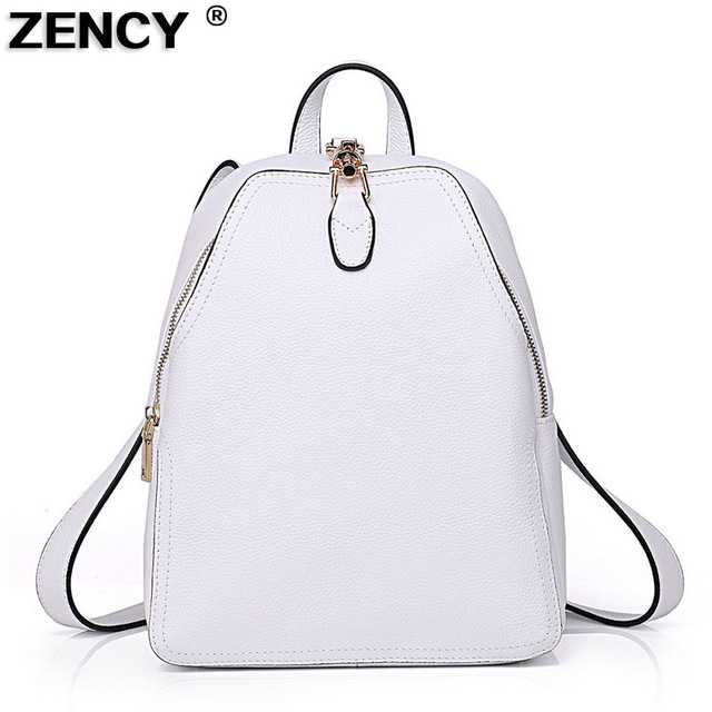 2019 Fast Shipping 100% Genuine Leather Women Backpack Fashion Female  Designer Cowhide Navy Red Backpacks Snow White Gray Bag 3dd554b057