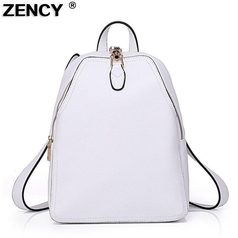 ZENCY 100% ของแท้วัวหนังผู้หญิงกระเป๋าเป้สะพายหลังแฟชั่นหญิง Designer Cowhide จริง Navy สีแดงกระเป๋าเป้สะพายหลังสีขาวกระเป๋าสีเทา-ใน กระเป๋าเป้ จาก สัมภาระและกระเป๋า บน AliExpress - 11.11_สิบเอ็ด สิบเอ็ดวันคนโสด 1