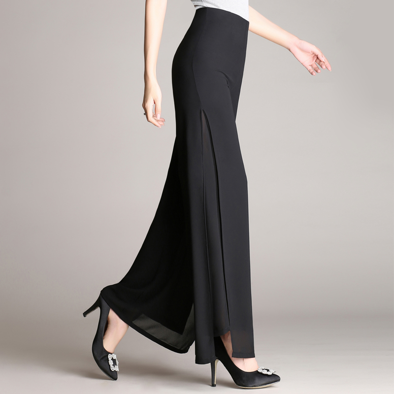 Women Ladies Vintage Loose High Waist Long Trousers Chiffon Side Split Casual Palazzo Plus size   Wide     Leg     Pants   pantalones