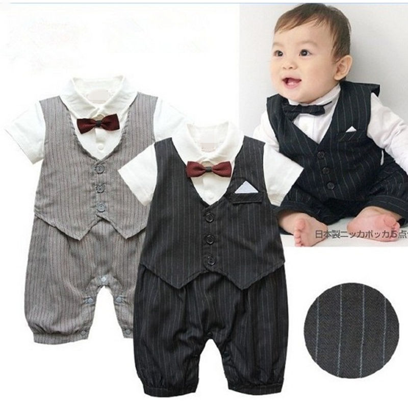 2016 New Baby romper/Boys Gentleman style short-sleeved clothing set baby suit newborn bebe wear kids clothes sets