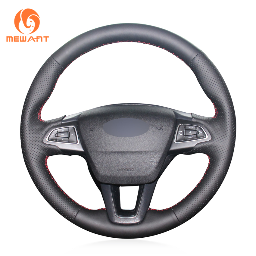 MEWANT Black Genuine Leather Car Steering Wheel Cover for Ford Focus 3 2015-2018 Kuga 2016-2018 Escape 2017 2018 C-MAX 2015-2018